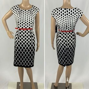 BNWT R&K Black white print dress red belt